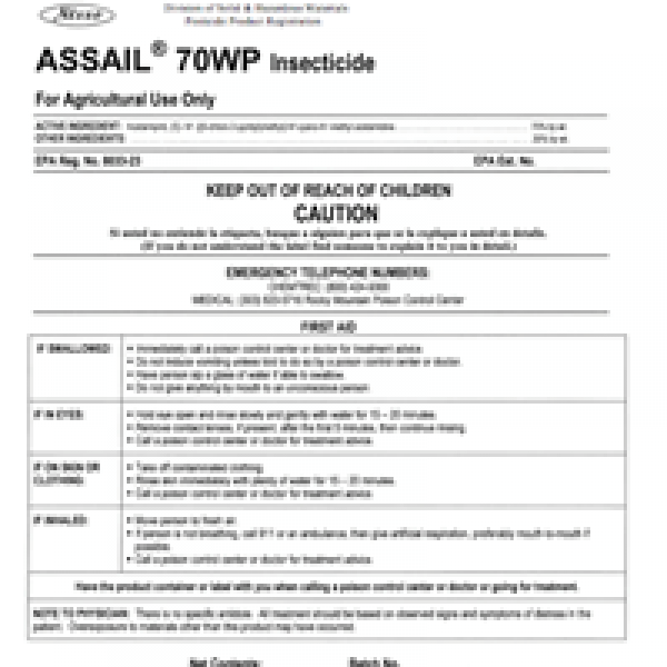 Assail 30SG Insecticide (acetamiprid)